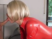 Hot Wife in Red Latex Perfect Anal Sex with Husband